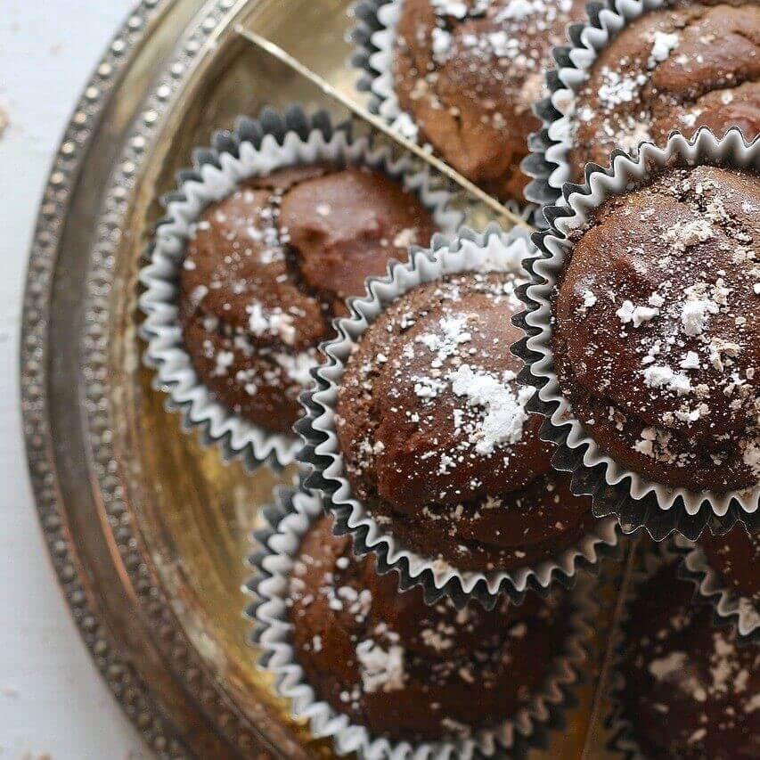 Muffin con cacao e zucchero