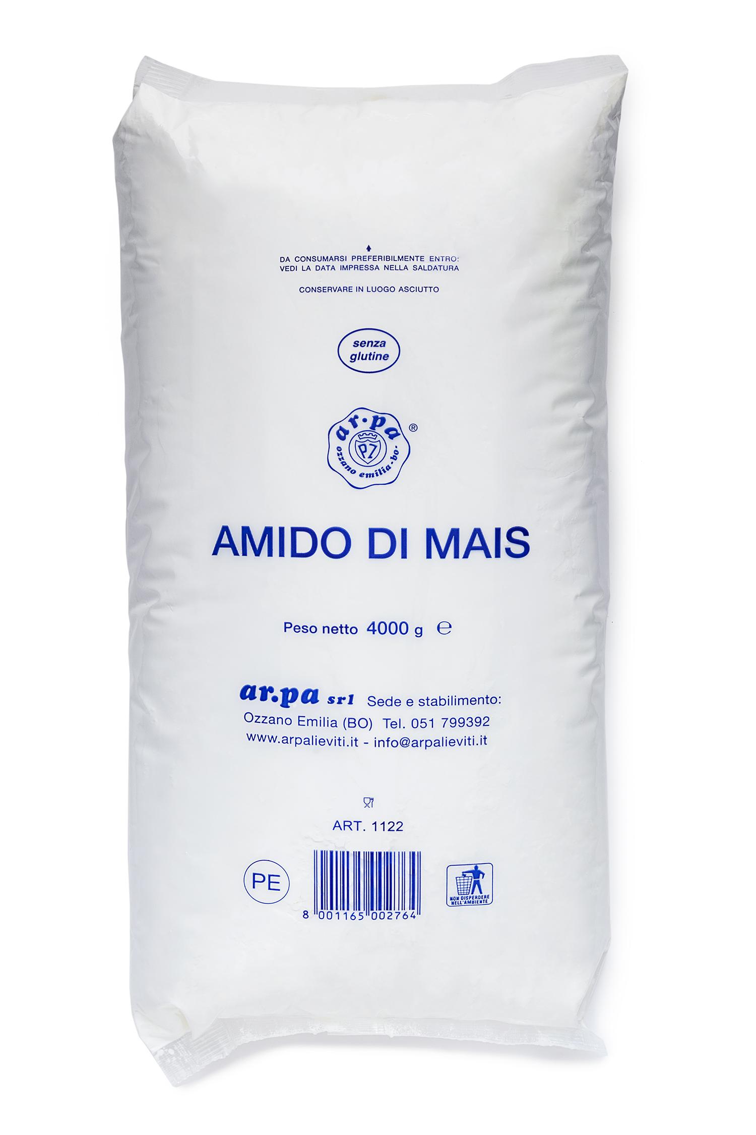 Packaging del prodotto Amido di Mais nel sacchetto da 4 kg